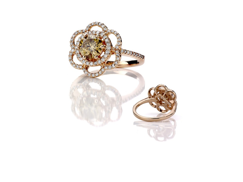 Image of Rose Gold Ring with Chocolate Diamonds On White by Canaan